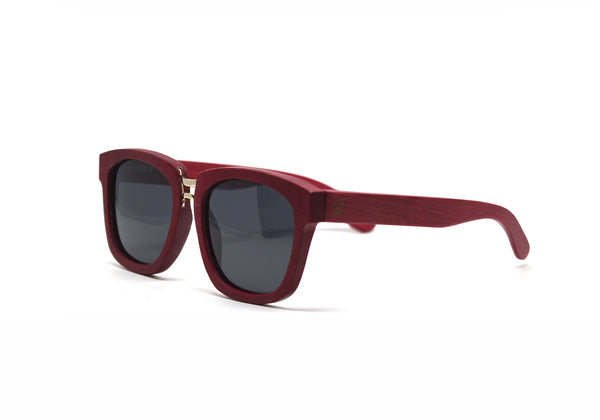 Rectangular Oversized Sunglasses - Red Bamboo for <span class=money>$125.00</span> at Keepwood Eyewear