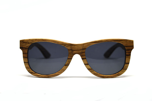 Classic Wayfarer Style Sunglasses - Solid Zebra Wood for <span class=money>$96.00</span> at Keepwood Eyewear
