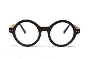 Lennon Round Eyeglasses - Black Sandalwood - Keepwood Eyewear
