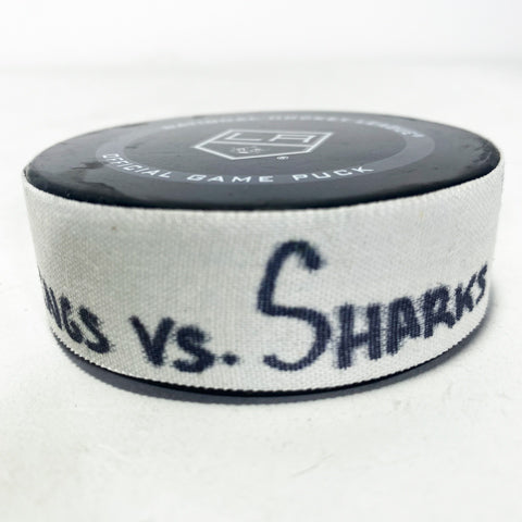 LA Kings vs. San Jose Sharks Game-Used Puck 02/11/21