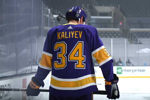 Arthur Kaliyev Game-Worn Reverse Retro Jersey ROOKIE DEBUT