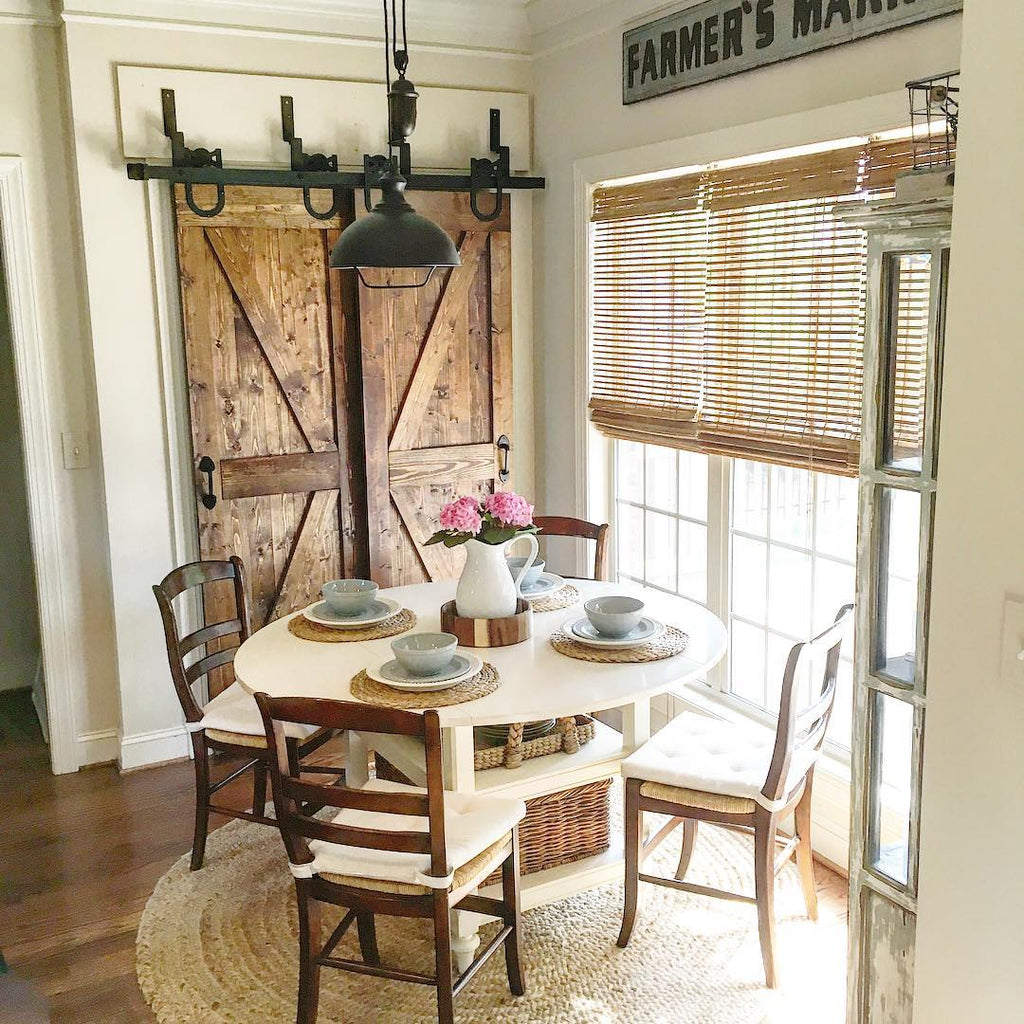 Rustic Barn Doors in Farmhouse Dining Room