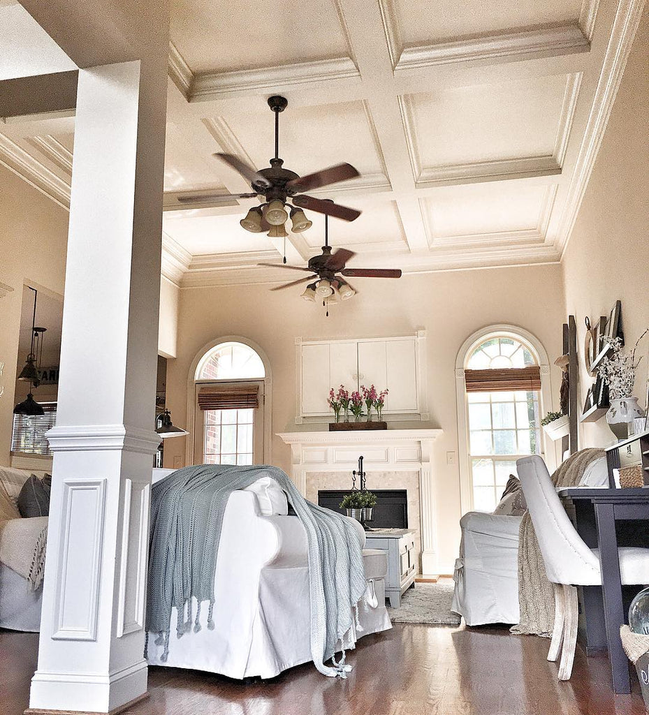 Coffered Ceiling in Farmhouse Living Room
