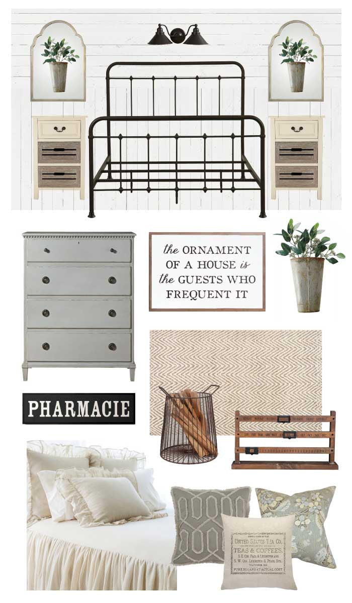 Soft and Neutral Farmhouse Style Guest Room by Ellie Besaw, The Painted Porch