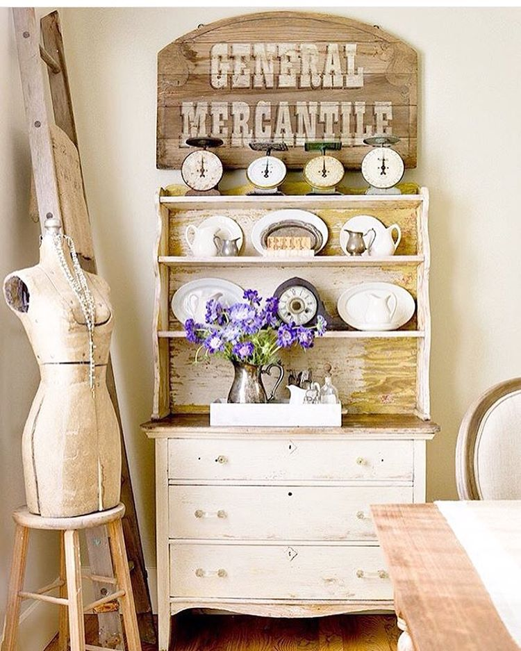 Cottage Farmhouse Antique Dresser with Hutch