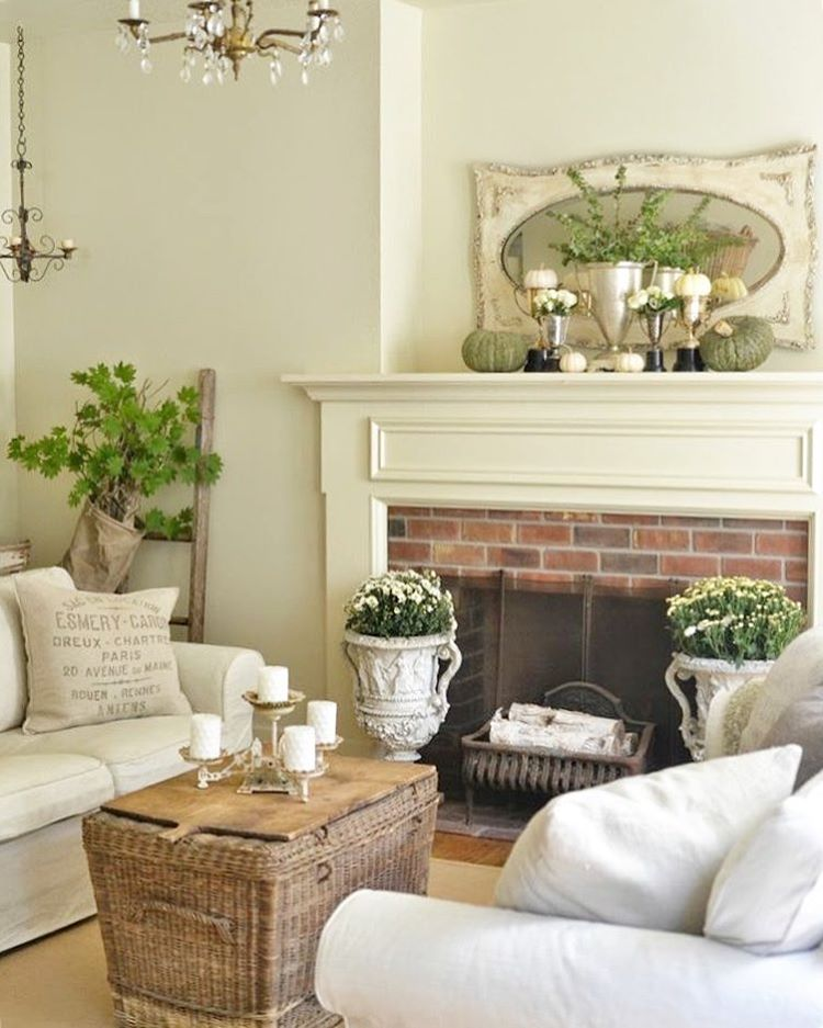 Cottage Farmhouse Living Room with Brick Fireplace and Traditional Wood Mantel