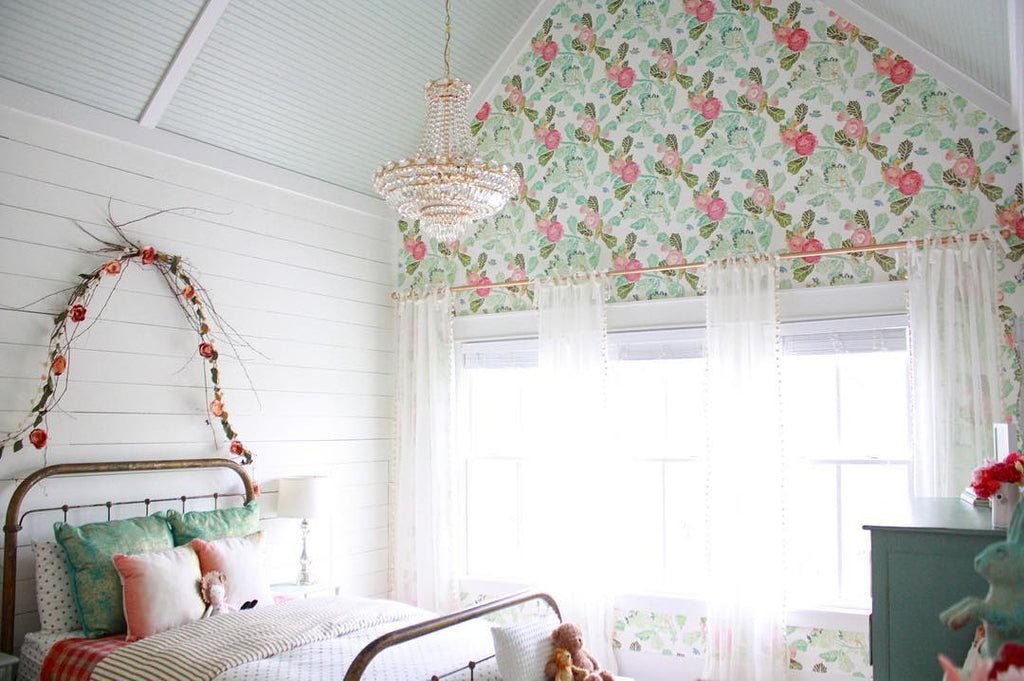 Cottage theme girls room with shiplap accent wall