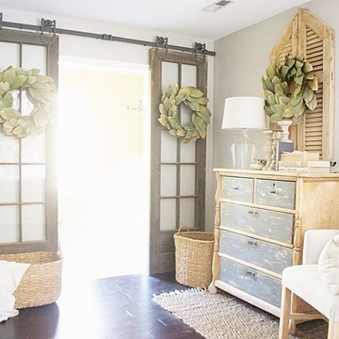 Antique French Doors on Sliding Barn Door Hardware