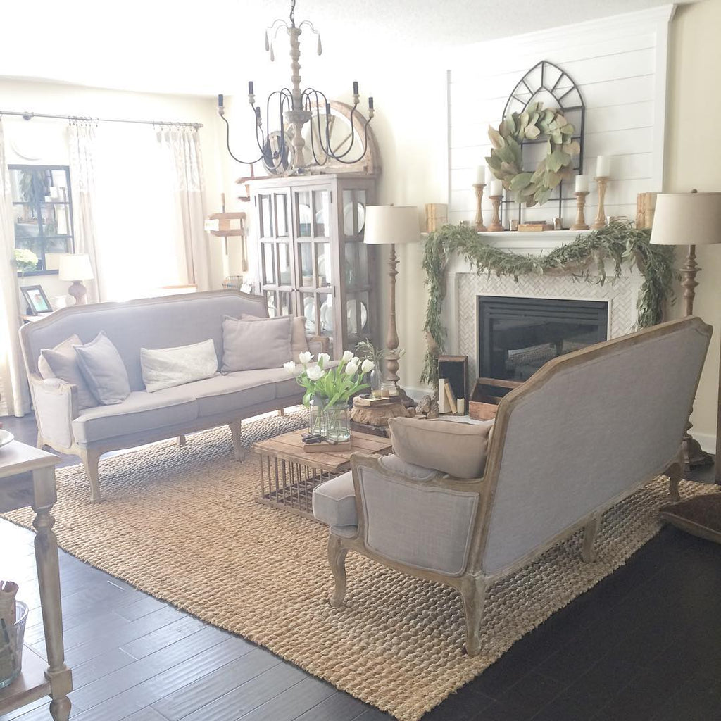French Farmhouse Style Living Room with Fireplace
