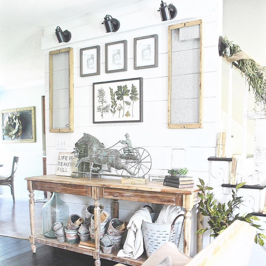 Farmhouse Style Entryway with Rustic Console Table and Shiplap Wall