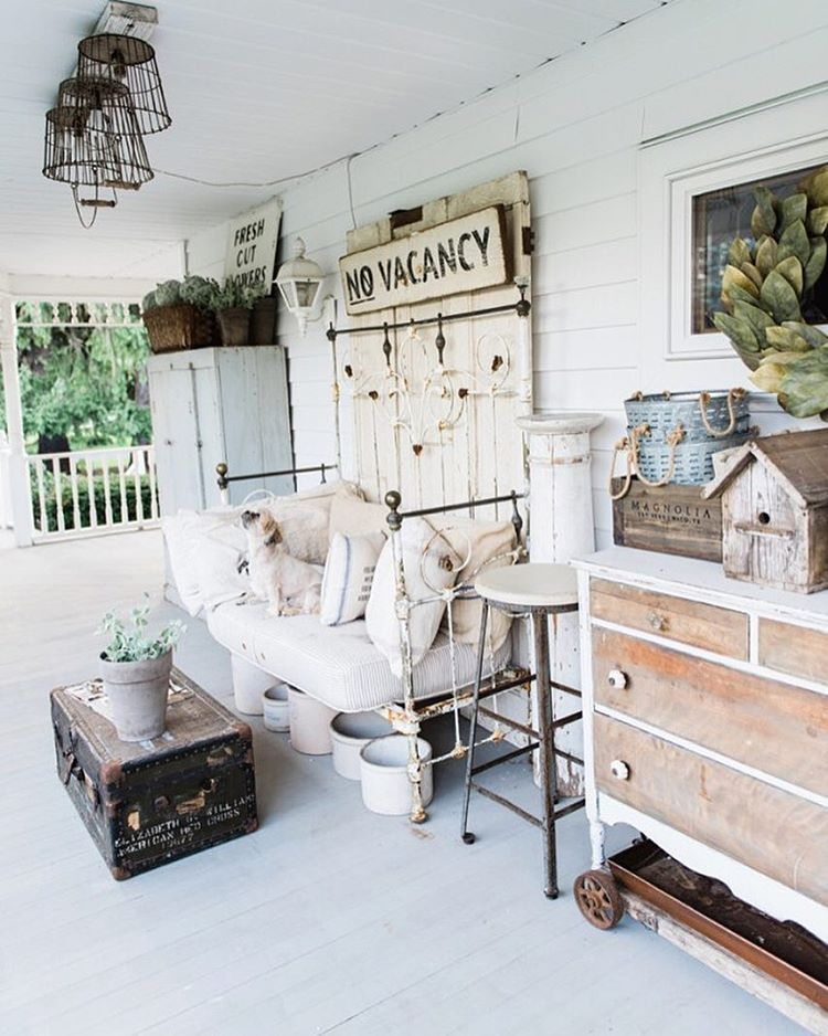 Farmhouse Front Porch with Daybed and Antique Finds
