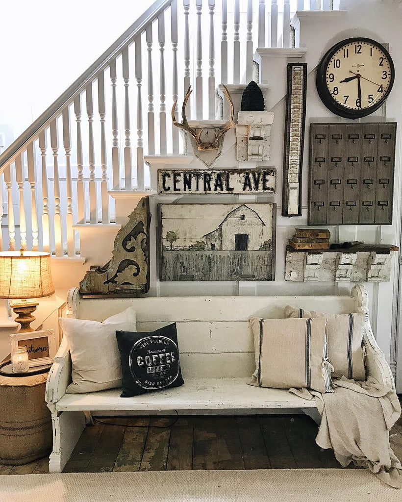 Farmhouse Church Pew and Rustic Gallery Wall