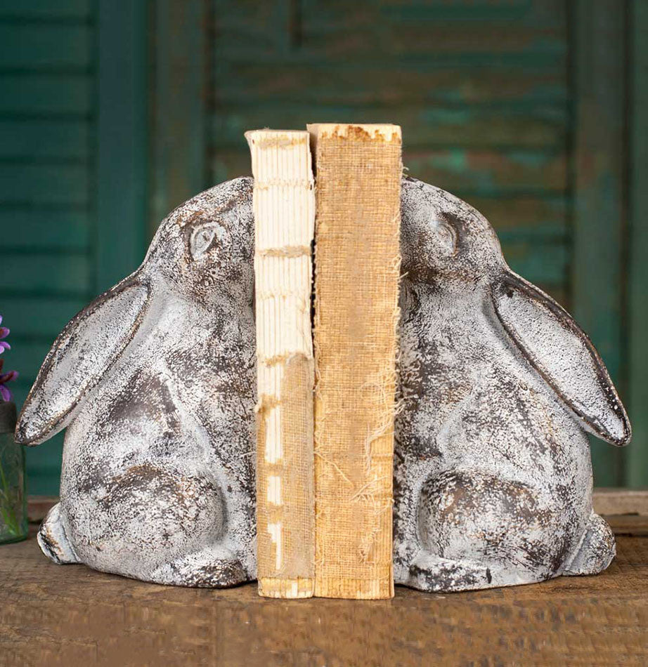 Cast Iron Bunny Friend Bookends - The Painted Porch Co