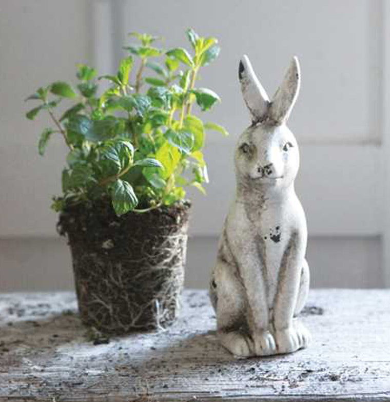 Chippy White Rustic Rabbit - The Painted Porch Co
