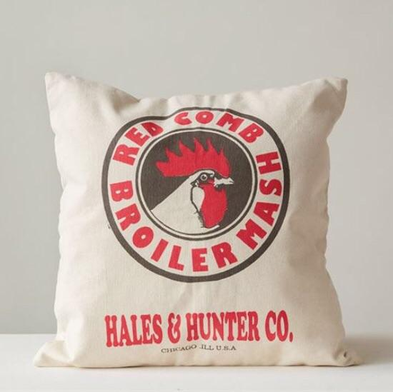 Chicken Feed Sack Pillow - The Painted Porch Co