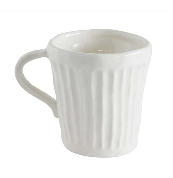 Farmhouse Style White Stoneware Coffee Mug