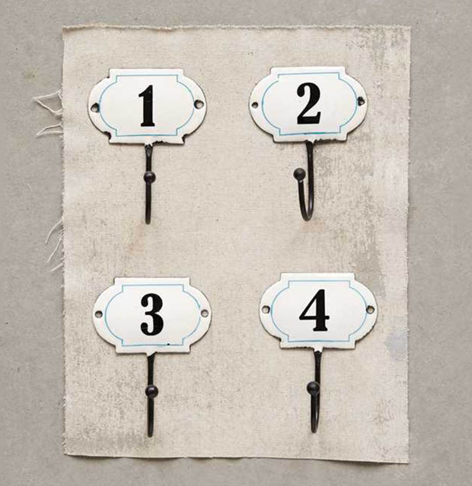 Set of Four Enamel Numbered Iron Wall Hooks by The Painted Porch Co
