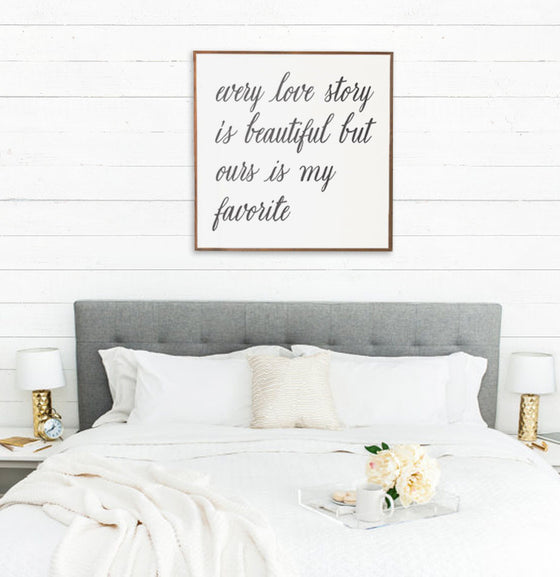 """Love Story"" Large Wall Sign - The Painted Porch Co"