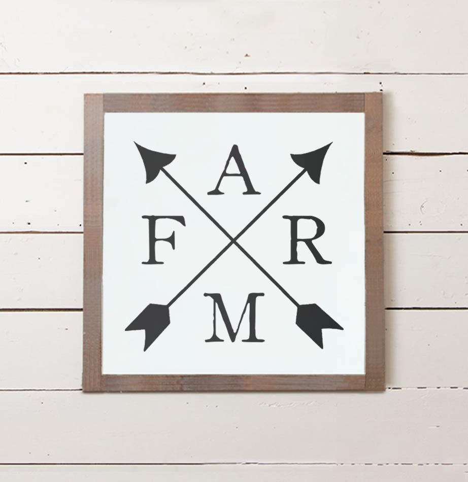 FARM Crossed Arrows Wall Sign - The Painted Porch Co