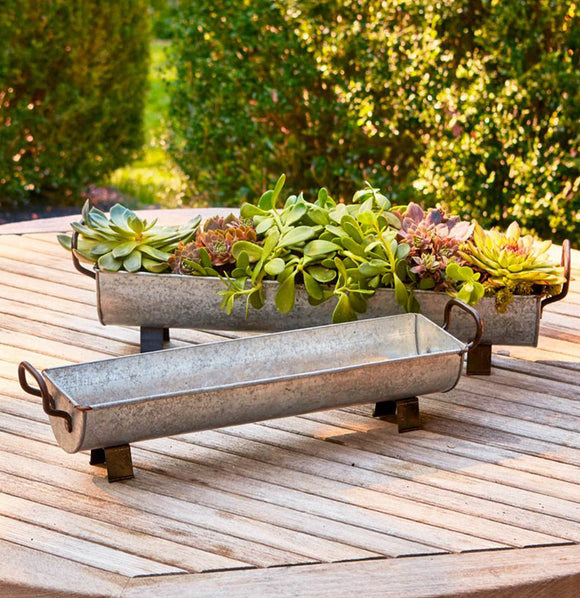 Farmhouse Metal Trough Footed Planters - The Painted Porch Co