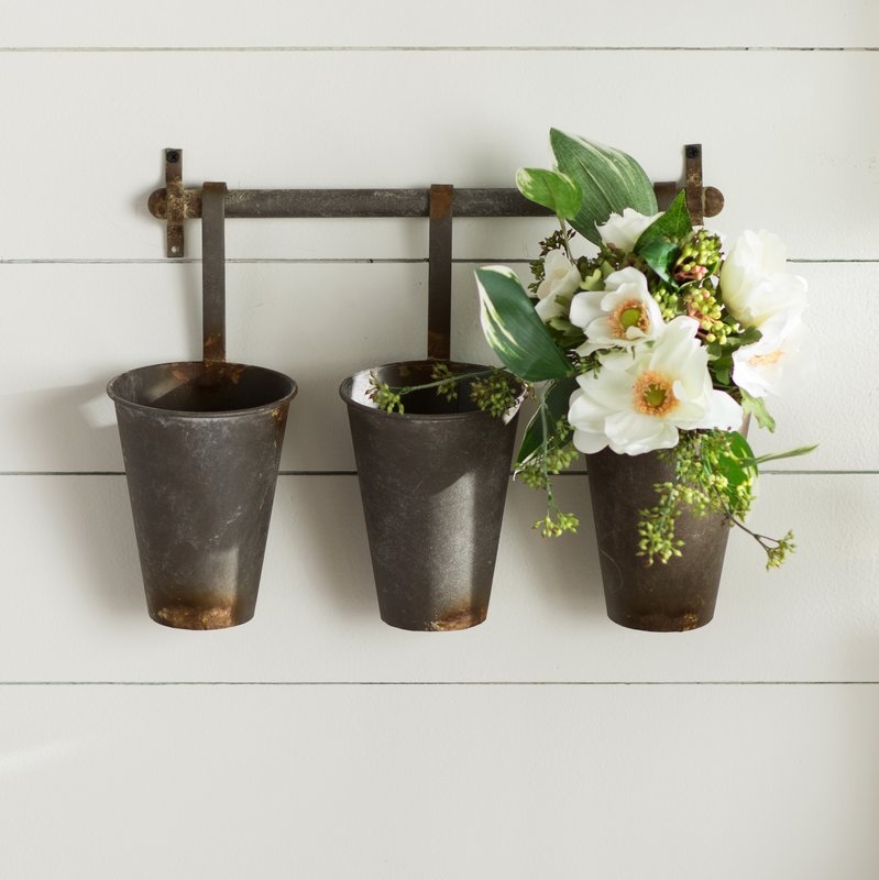 Metal Wall Rack with 3 Tin Pots - The Painted Porch Co