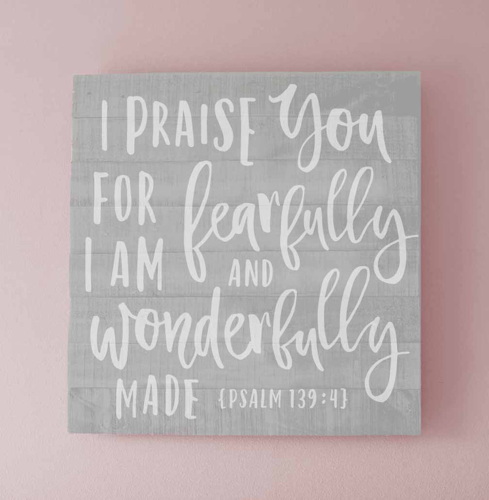 Gray and Pink Psalm 139 4 Bible Verse Nursery Wall Sign