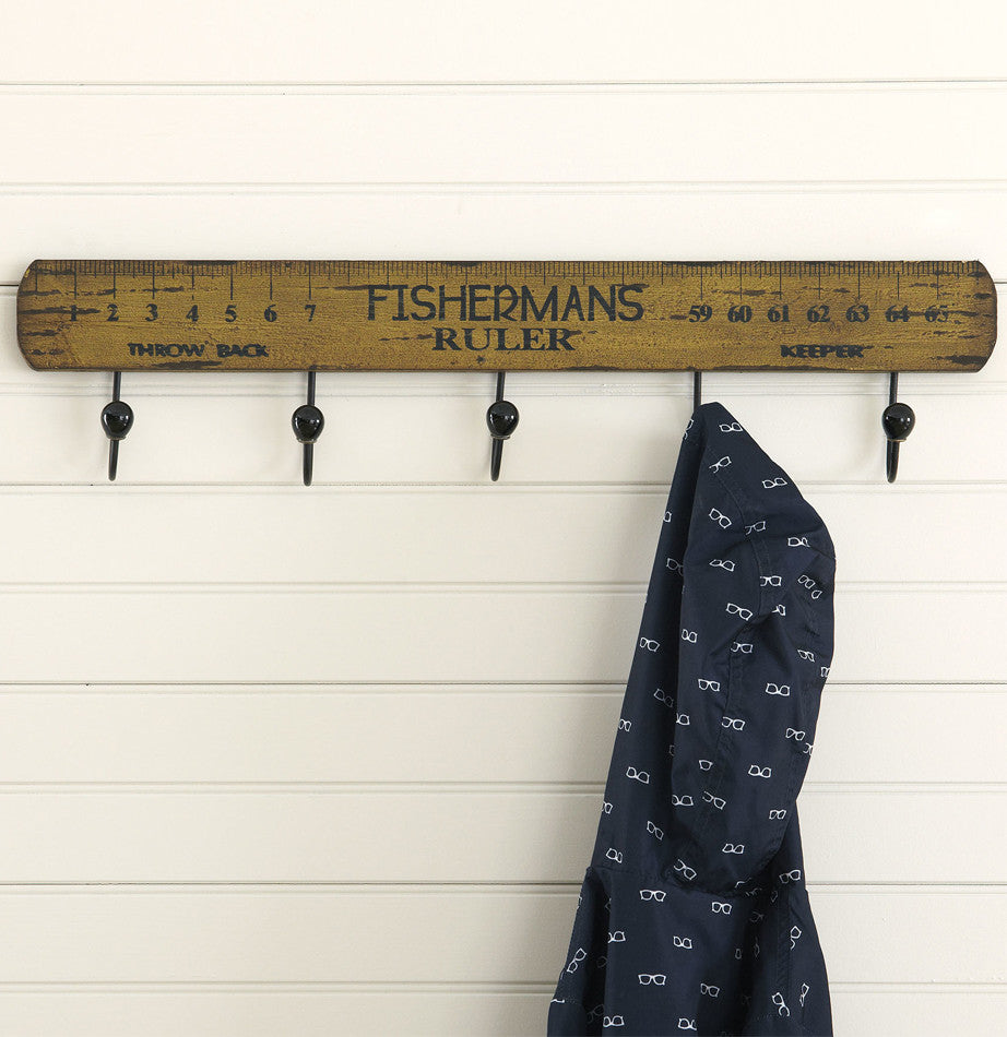 Fisherman's Ruler Wall Rack with Hooks from The Painted Porch Co
