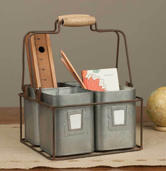 Four Tin Organizer Caddy - The Painted Porch Co