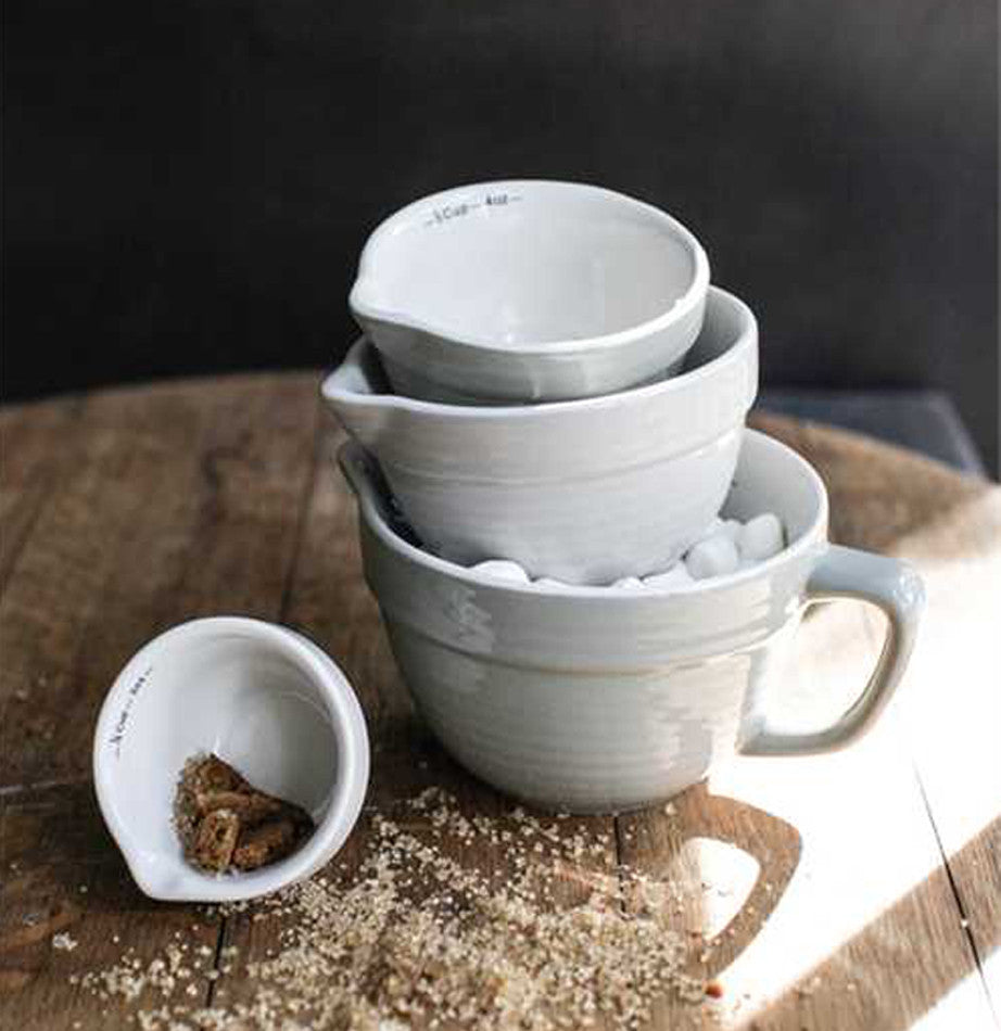 Grey Batter Bowl Measuring Cups - The Painted Porch Co