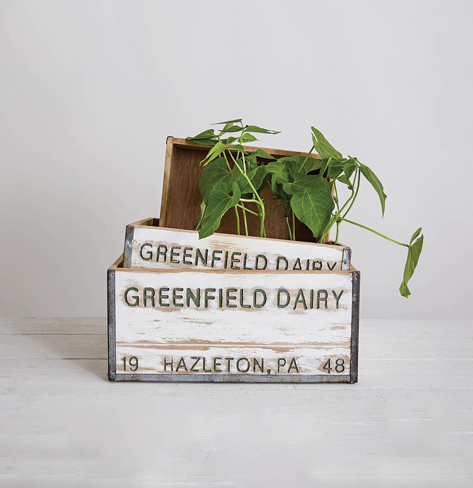 Greenfield Dairy Wood Crates - The Painted Porch Co