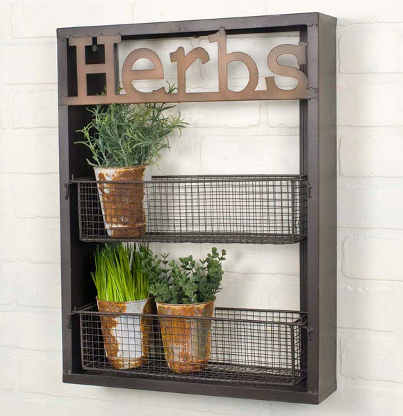 """Herbs"" Wall Shelf - The Painted Porch Co"
