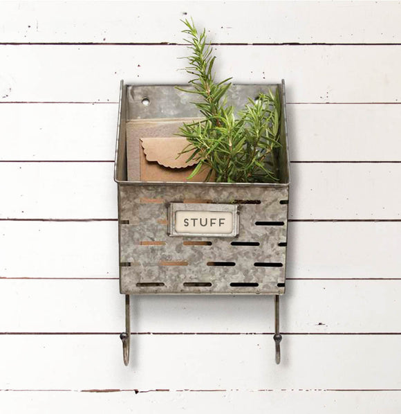 Olive Basket Wall Bin with Hooks - The Painted Porch Co