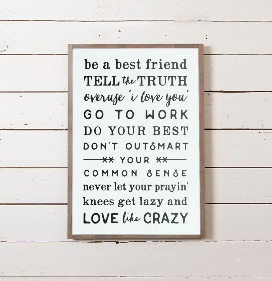 Love Like Crazy Rules Wall Sign - The Painted Porch Co