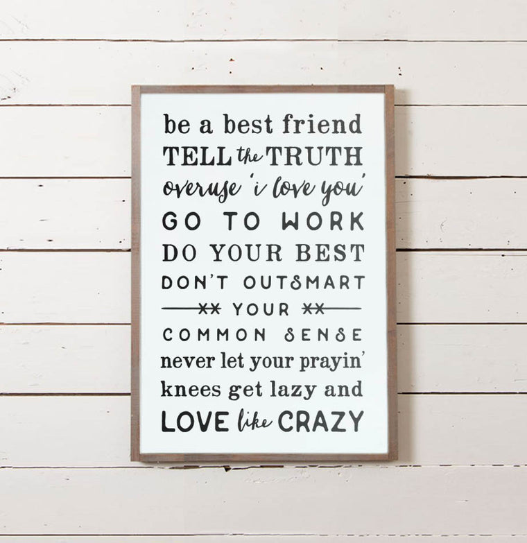 Love Like Crazy Rules Wall Sign