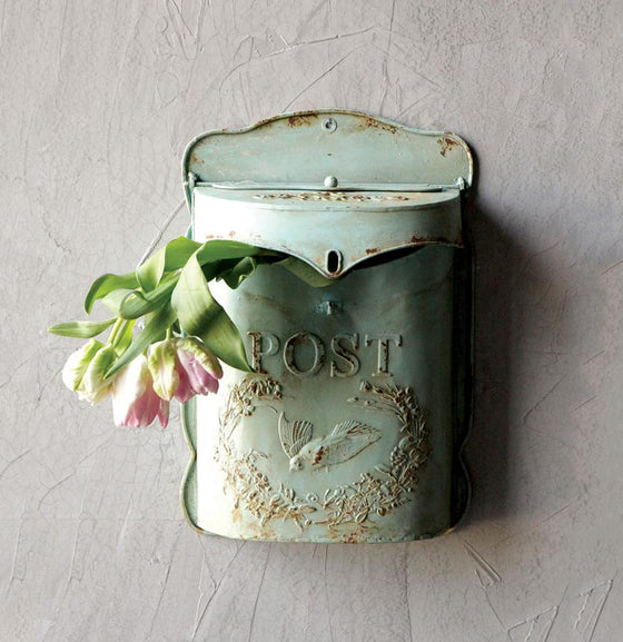 Embossed Tin Aqua Mailbox - The Painted Porch Co