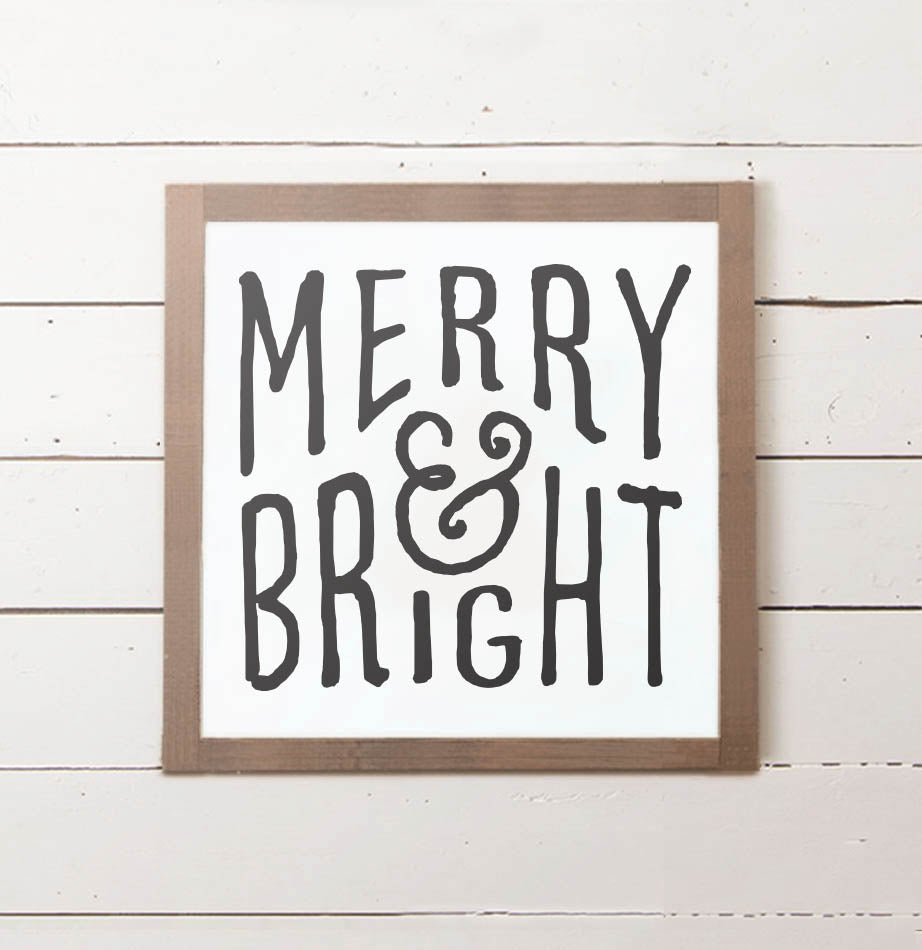 Merry & Bright Christmas Wall Sign - The Painted Porch Co