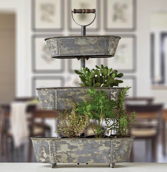 Metal Bucket 3 Tiered Tray - The Painted Porch Co