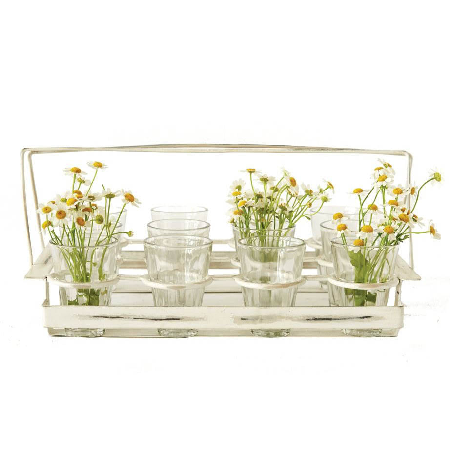 Set of 12 Tea Light/Drinking Glasses with Metal Caddy - The Painted Porch Co