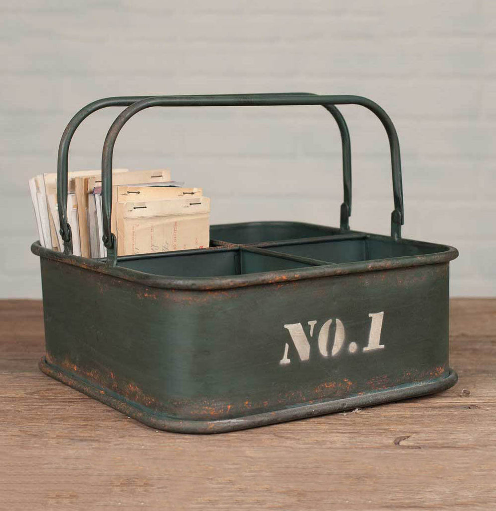 Military Inspired Green Divided Caddy - The Painted Porch Co
