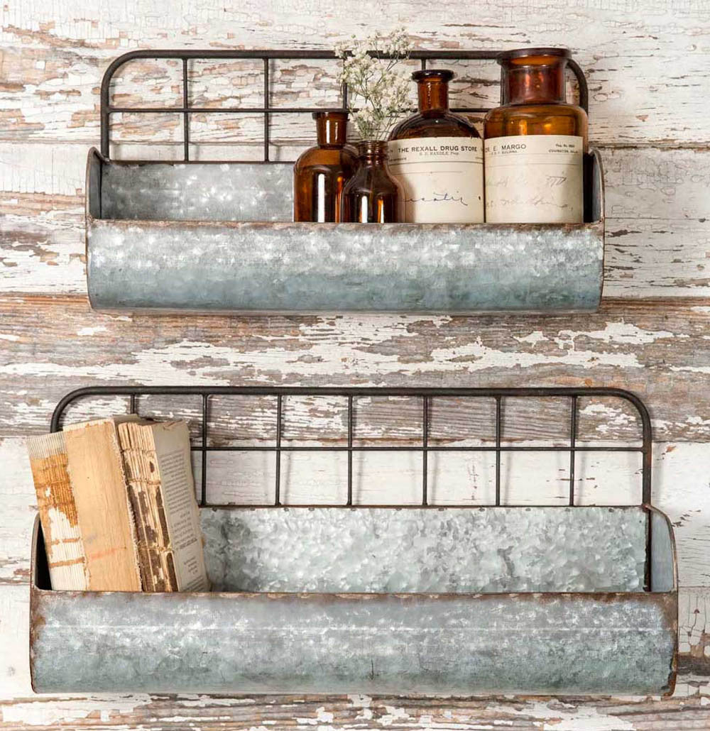 Metal Trough Bin Shelf - Set of 2 - The Painted Porch Co