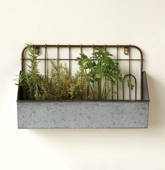 Metal Wall Bucket with Fence Style Back