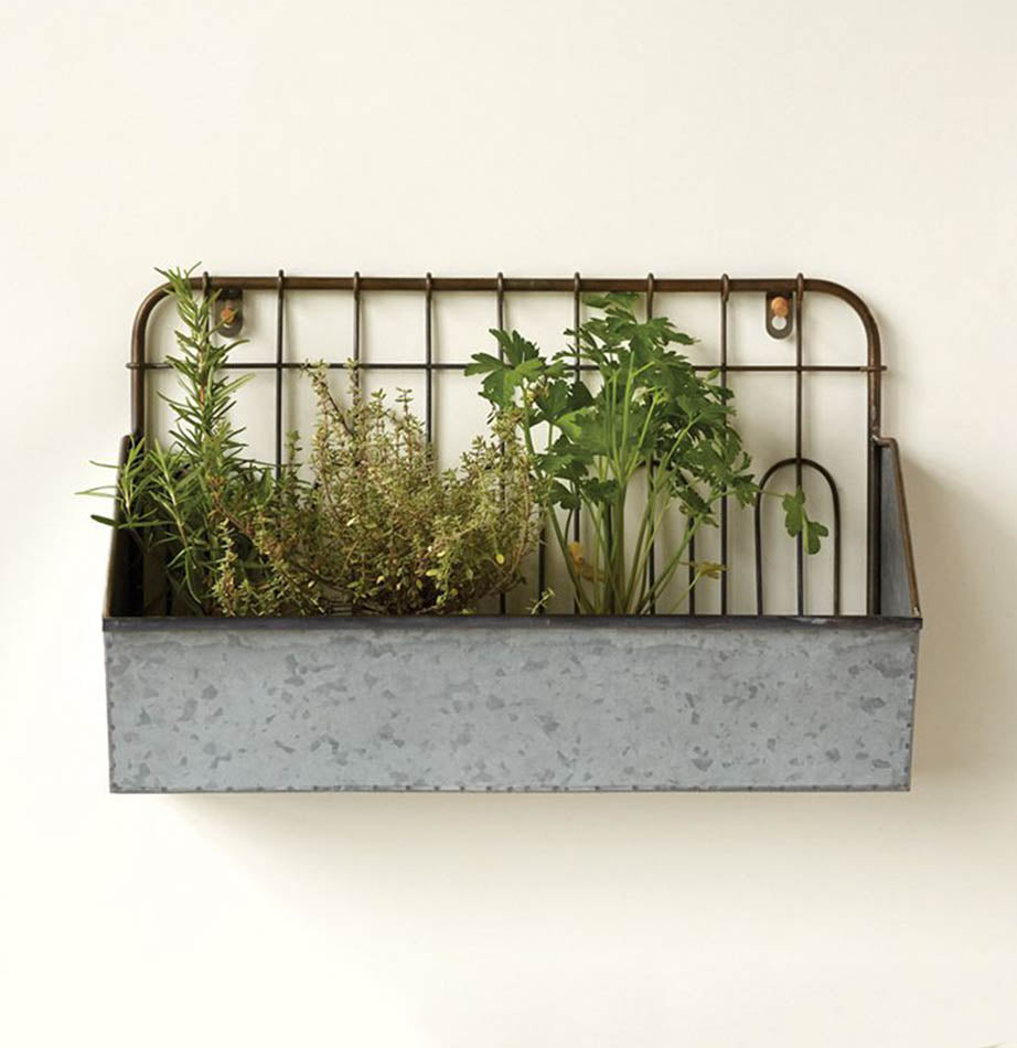 Metal Wall Bucket with Fence Style Back - The Painted Porch Co
