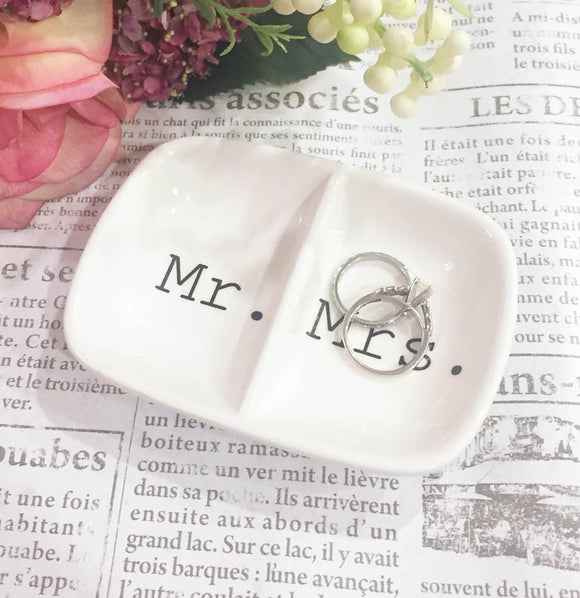 White Ceramic Mr. and Mrs. Wedding Ring Dish by The Painted Porch Co