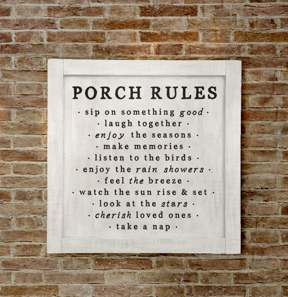 Porch Rules Large Wall Sign - The Painted Porch Co