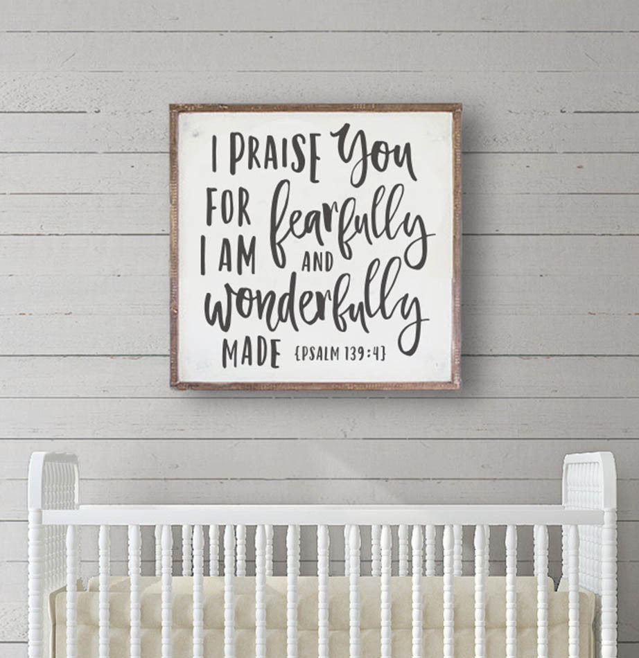 """Wonderfully Made"" Bible Verse Nursery Framed Wall Sign - The Painted Porch Co"