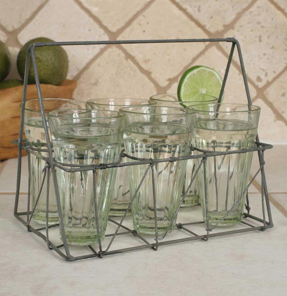 Wire Caddy with Six Glasses - The Painted Porch Co