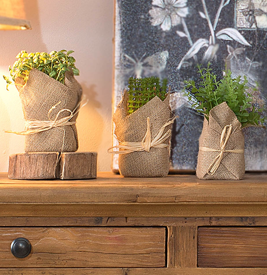 Set of 3 Burlap Potted Herbs - The Painted Porch Co