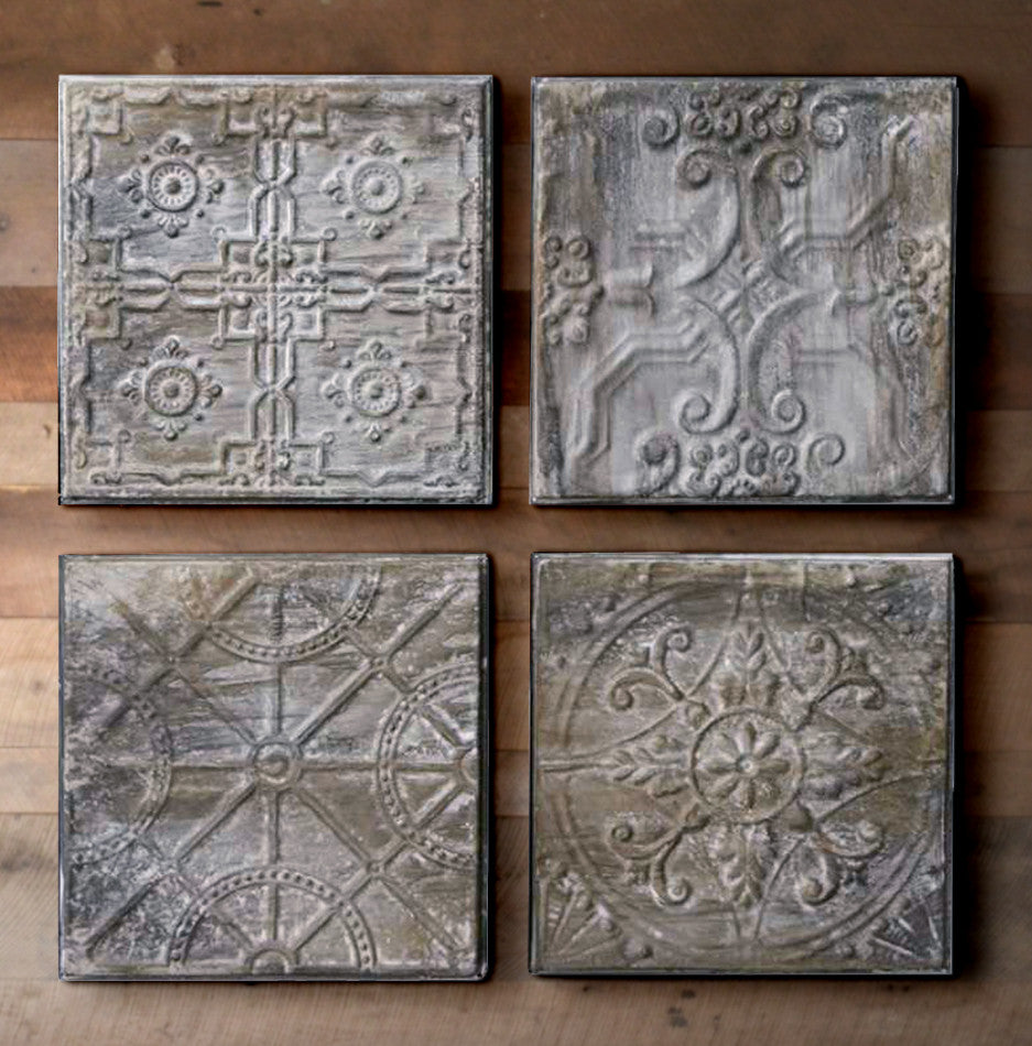 Set of Four Antique Finish Embossed Tin Tiles - The Painted Porch Co