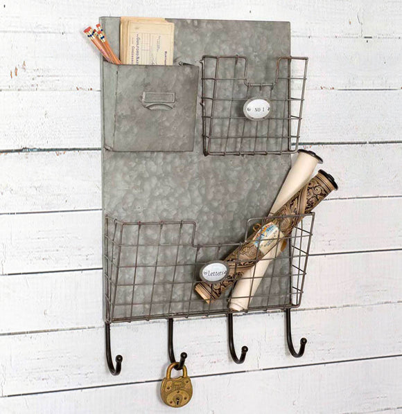 Three Pocket Letters Wall Caddy - The Painted Porch Co