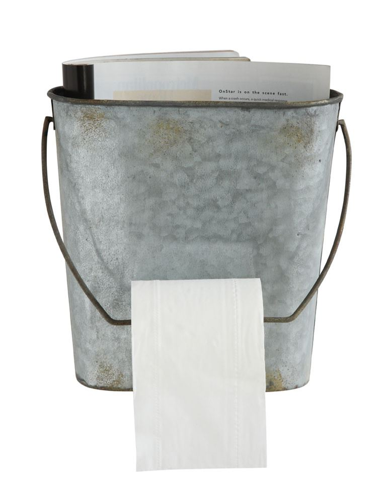 Tin Bucket Toilet Paper Wall Rack - The Painted Porch Co